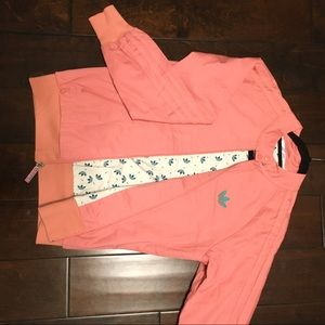Adidas pink and green bomber jacket